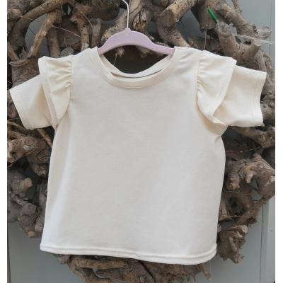 t-shirt ecru met roezel korte mouw